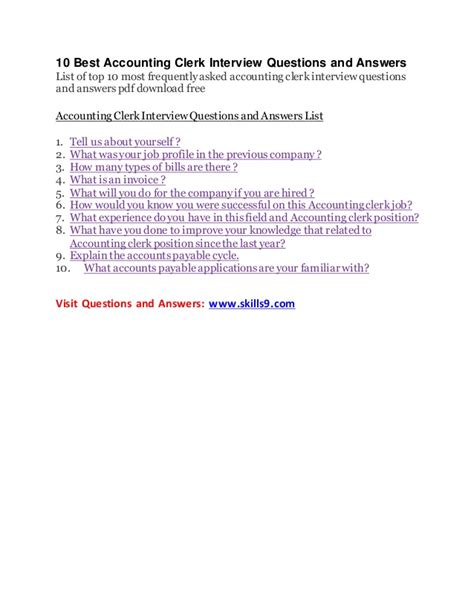 Accounting Clerk Questions by 10 Best Accounting Clerk Questions And Answers