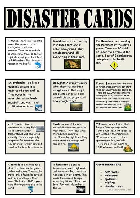 speaking cards natural disasters worksheet  esl