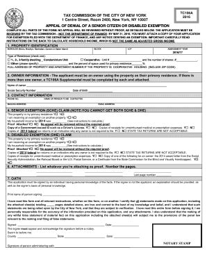 nyc finance form tca fill  printable fillable
