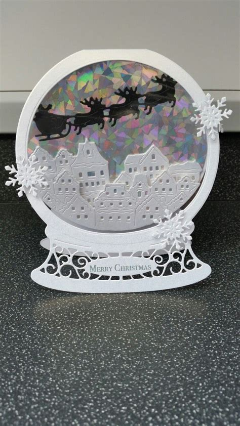 tattered lace snowglobe  die xmas cards diy