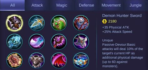 Mobile Legends Items 2019 (updated List Guide With Tables