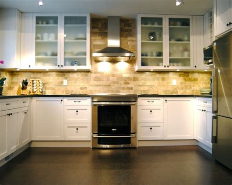 kitchen layout and design also this faux brick backsplash with the lighting and 5307