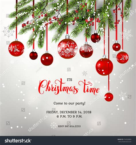 Red Decoration FirWinter Holiday Stock Vector