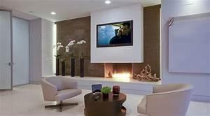 Fixation murale tv et cheminée sur le même mur en 39 idées