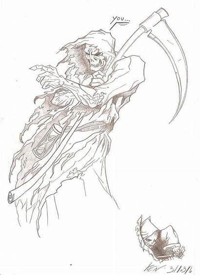 Reaper Grim Sketch Drawing Tattoo Angel Female