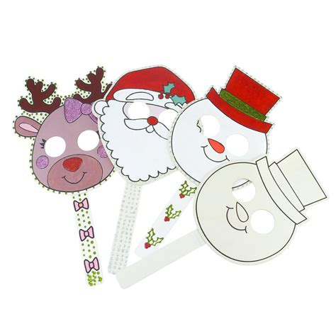 wooden christmas mask snowman santa or reindeer masks