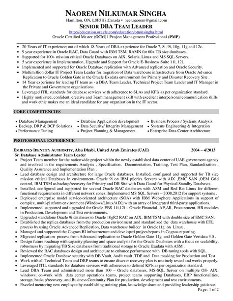 dba sle resume 28 images oracle dba resume for 2 years