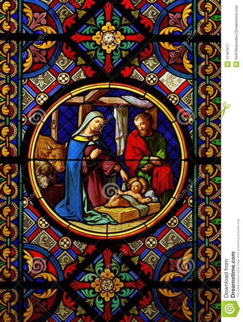 Christmasstained Glas Window Royalty Free Stock