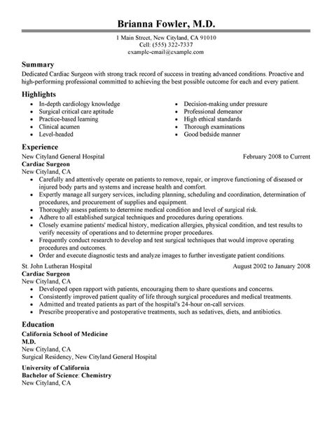 best surgeon resume exle livecareer