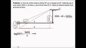 Problema De Trigonometria  Avion Y Torre De Control 4 U00ba Eso