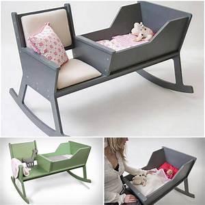 Wonderful DIY Rocking Chair Cradle With a Crib