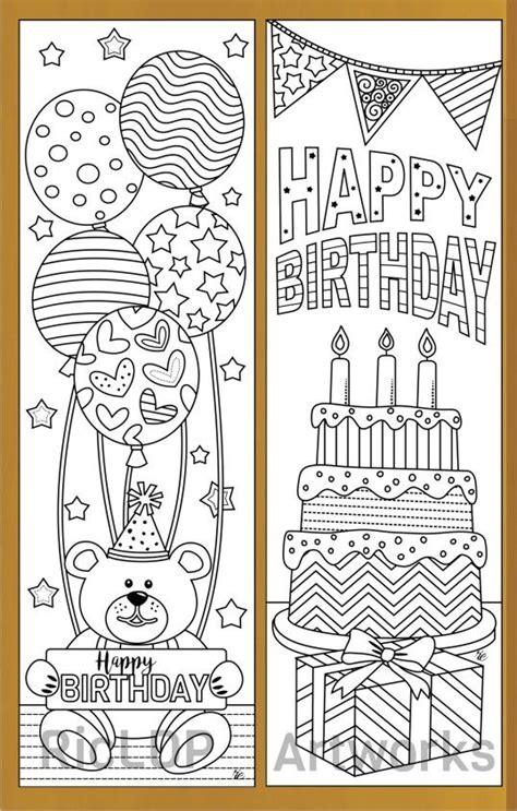 birthday coloring bookmarks birthday coloring