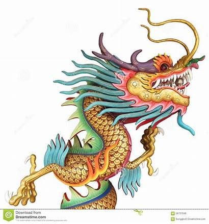 Dragon Chinese Temple Ancient Statue Isolated Background