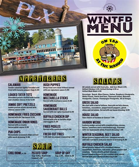 deck portage lakes menu on tap at the harbor portage lakes restaurant