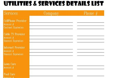utilities  services detail list  excel templates