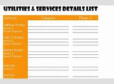 Utilities and Services Detail List My Excel Templates