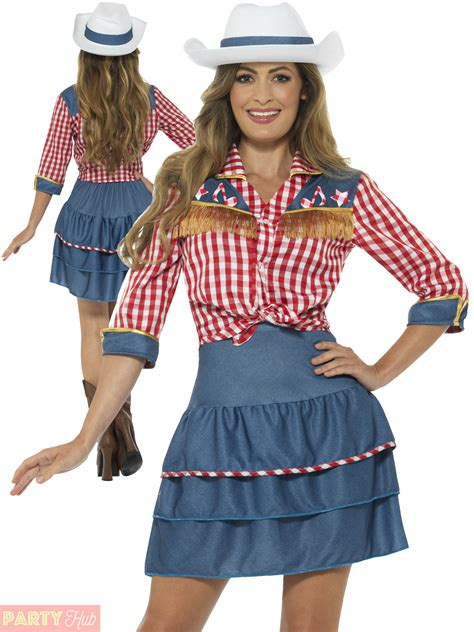 Ladies Cowgirl Costume Adult Rodeo Doll Fancy Dress Womens Western Cowboy Outfit   eBay