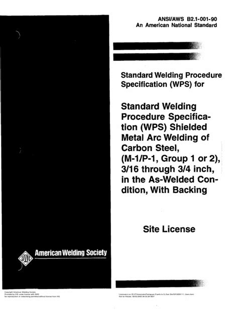 AWS SWPS B2.1-1-001 | Specification (Technical Standard