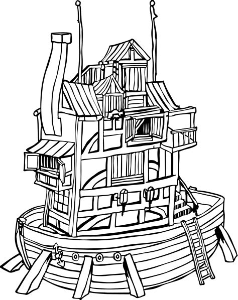 House Boat Drawing by Houseboat Black Line Drawing Clipart