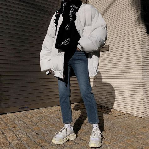 Balenciaga sneakers + white puffer jacket + 90s inspired ...