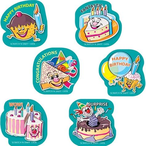happy birthday stickers shape tulip ss1022 scentsations stickers shapes birthday kookaburra educational resources one of