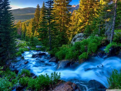 Landscape Mountain River Blue Water Forest Rocks Green