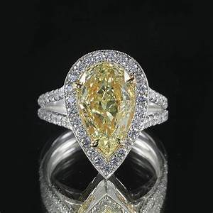3 21ct pear cut yellow 18k white gold engagement