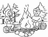 Campfire Coloring Pages Camping Advertisement sketch template