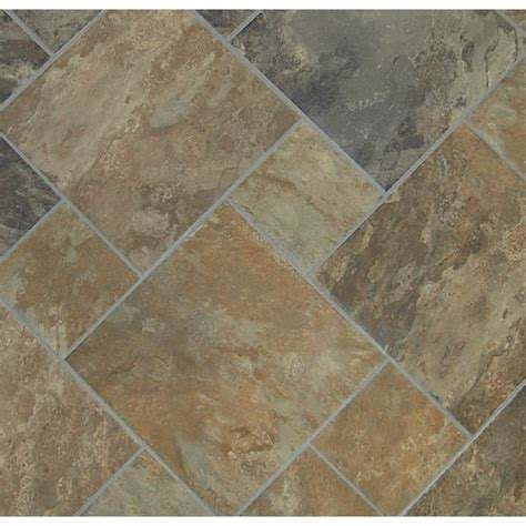 lowes tile flooring shop style selections sedona slate cedar glazed porcelain indoor outdoor floor tile common 12