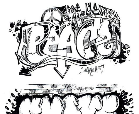 create   graffiti sketch graffiti letters peace black edition