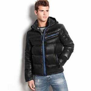Guess Jacket Chrome Hooded Quilted Puffer in Black for Men ...