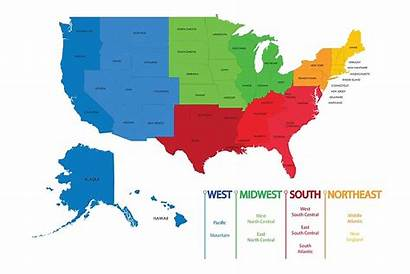 Regions Usa States United Map America Divisions