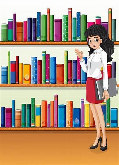 Librarian Illustration Near Bookshelves Vector Books Clipart