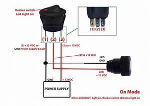 Round Rocker Switch - 12v Led