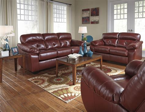red leather sofa and loveseat benchcraft by ashley bastrop 4460238 4460235 red leather