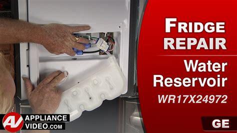 ge pfeksddss refrigerator leaking water  bottom  door water reservoir appliance video