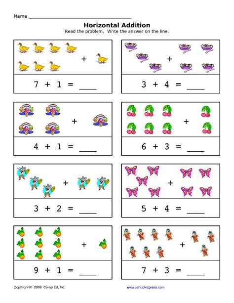 preschool horizontal addition worksheet preschool crafts