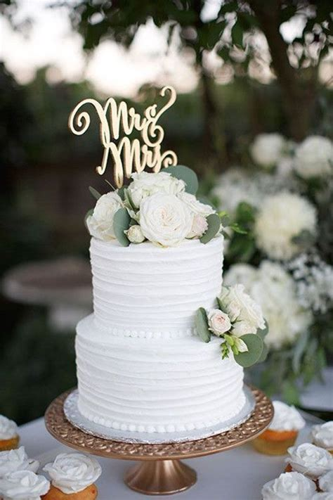 Two Tier White Rustic Wedding Cake Wedding Ideas