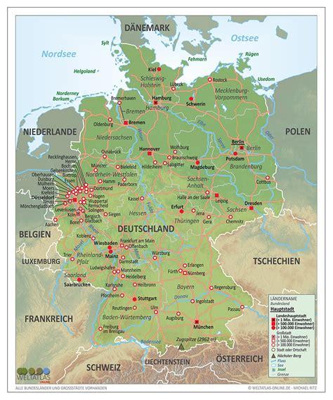 fluesse und staedte  deutschland karte fluesse