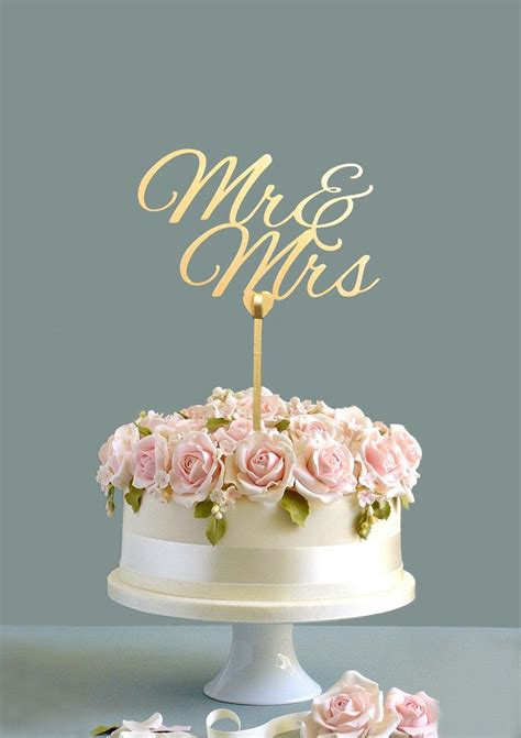 Wedding Cake Topper Mr And Mrs Cake Topper Gold Cake