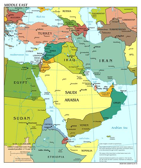 large scale political map   middle east  major