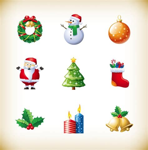 christmas  year holiday decoration elements vector set