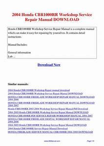 2004 Honda Cbr1000rr Workshop Service Repair Manual By