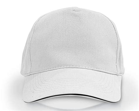 Heavy Brushed Cotton Cap 5 Panels White With Black Sandwich