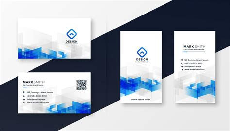 abstract white  blue business card template set