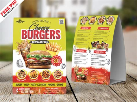 food menu table tent card psd psdfreebiescom