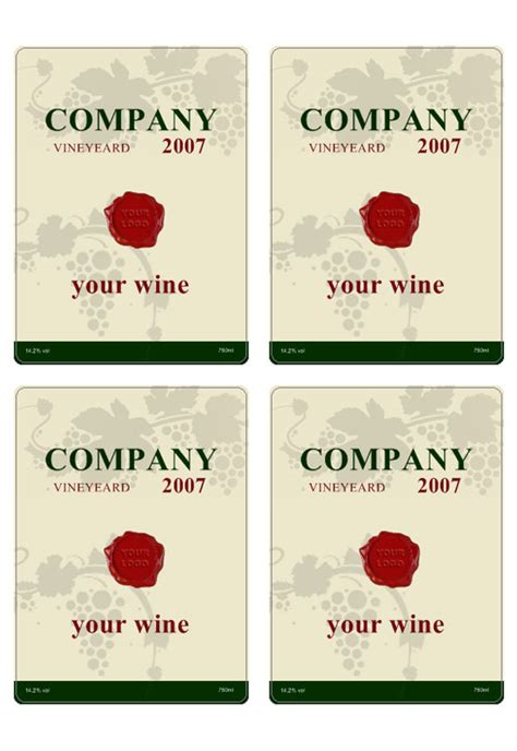 wine label template personilize   wine labels
