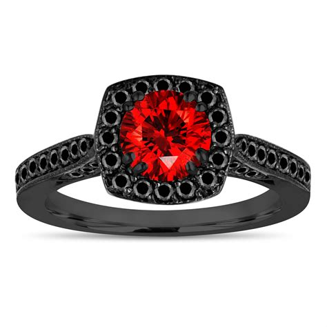 vintage style red diamond engagement ring fancy color