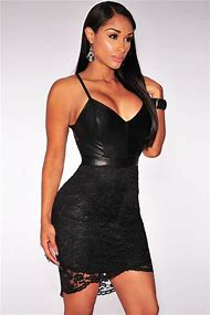 Black Leather Lace Up Dress