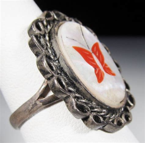 mother  pearl coral butterfly inlay silver ring wc